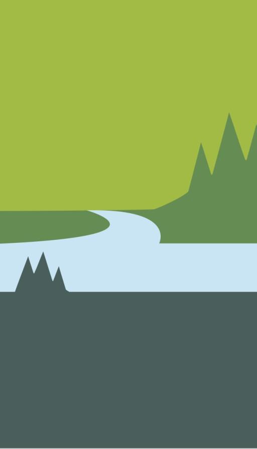 Stylized slice of L. L. Bean Katahdin Logo depicting mountain, land, water and trees.