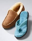 Two shearling-lined slippers.