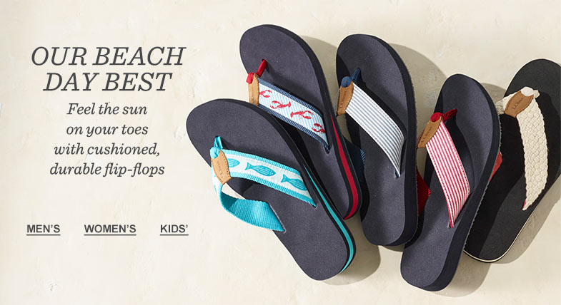 OUR BEACH-DAY BEST: Feel the sun on your toes with cushioned, durable flip-flops