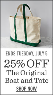 Ends Tuesday, July 5. 25% off The Original Boat & Tote.