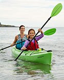 Two people paddling in a kayak.