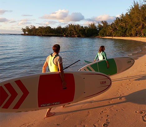 Two people carrying stand up paddle boards along a sand beach.