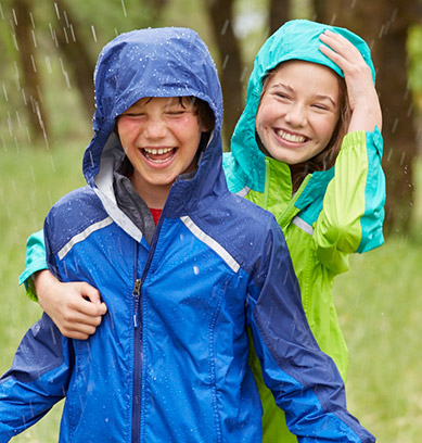 Kids in raincoats laughing