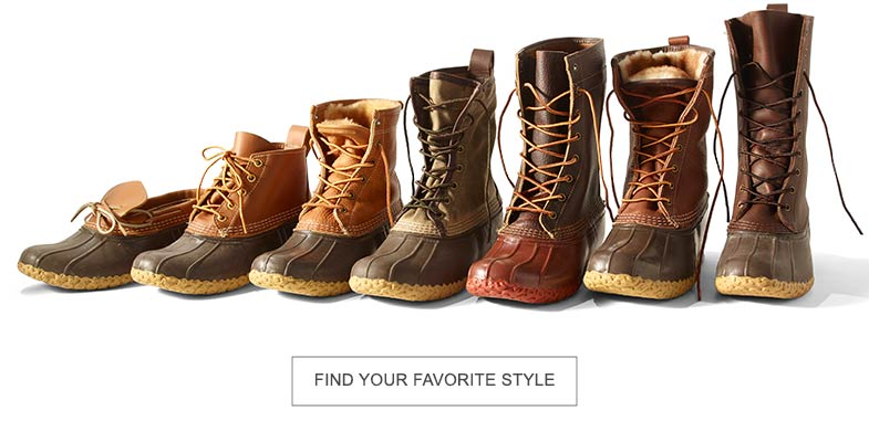 Seven different styles of L.L.Bean Boots.