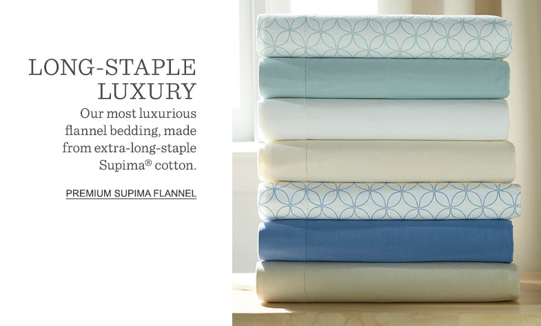 LONG-STAPLE LUXURY: Our most luxurious flannel bedding, made from extra-long-staple Supima® cotton.