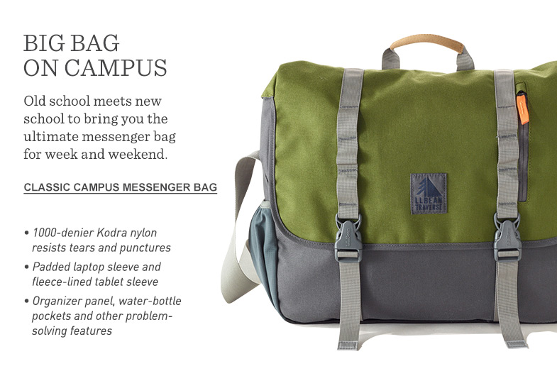 Big bag on campus. Old school meets new with the ultimate messenger bag for week and weekend.