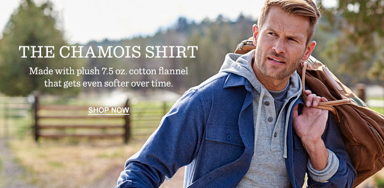 THE CHAMOIS SHIRT. Made with plush 7.5 oz. cotten flannel that gets even softer over time.