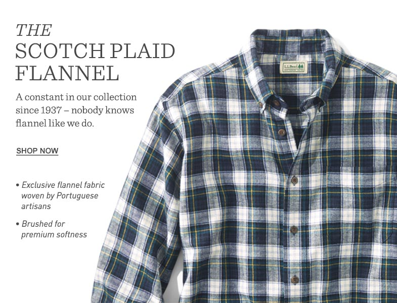 THE SCOTCH PLAID FLANNEL. A constant in our collection since 1937 – nobody knows flannel like we do.