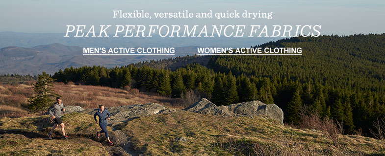 Flexible, versatile and quick-drying peak performance fabrics.