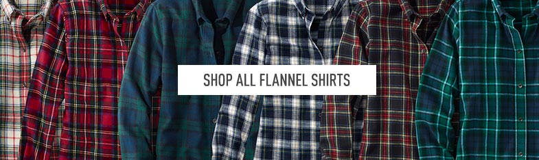 A variety of flannel shirts in different plaids.