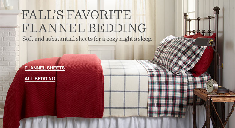 FALL'S FAVORITE FLANNEL BEDDING. Soft and substantial sheets for a cozy night's sleep.