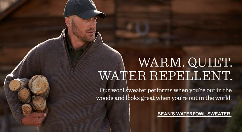 WARM. QUIET. WATER REPELLENT. Our wool sweater performs when you're out in the woods and looks great when you're out in the world.