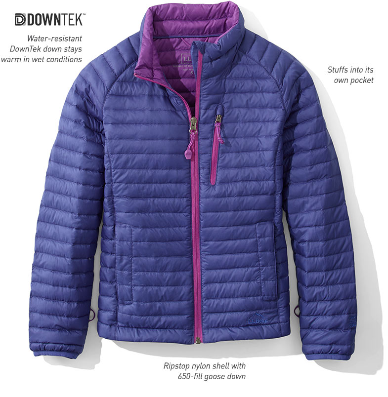 Water-resistant DownTek down stays warm in wet conditions. Stuffs into its own pocket. Ripstop nylon shell with 650-fill goose down