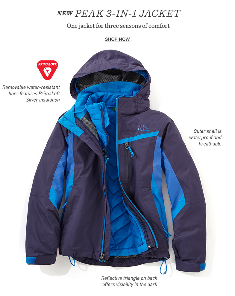 NEW Peak 3-in-1 Jacket. One jacket for three seasons of comfort.