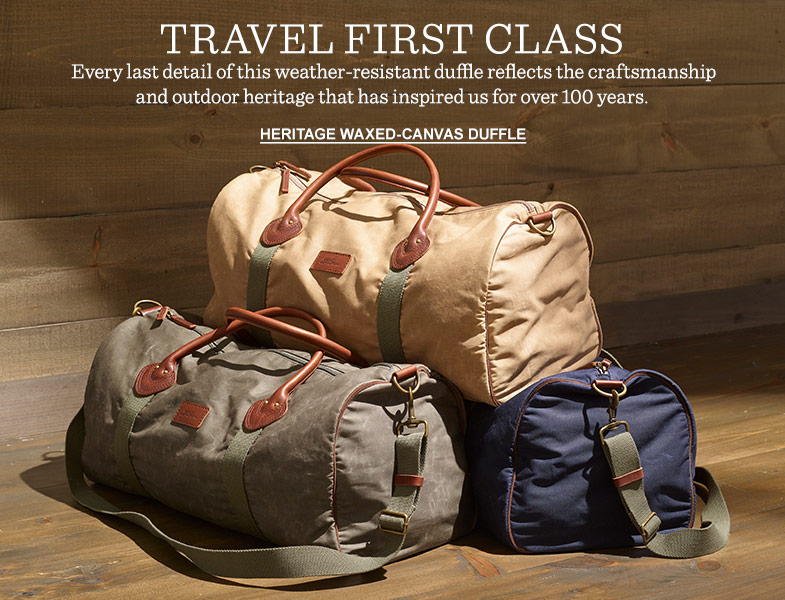 Travel First Class. Every last detail of this weather-resistant duffle reflects the craftsmanship and outdoor heritage that has inspired us for over 100 years.