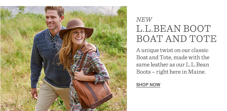 NEW L.L.Bean Boot Boat and Tote. A unique twist on our classic Boat and Tote, made with the same leather as our L.L.Bean Boots – right here in Maine.