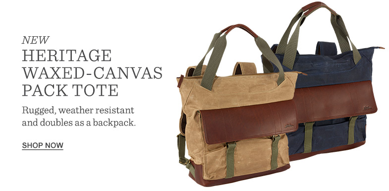 NEW Heritage Waxed-Canvas Pack Tote. Rugged, weather resistant and doubles as a backpack.