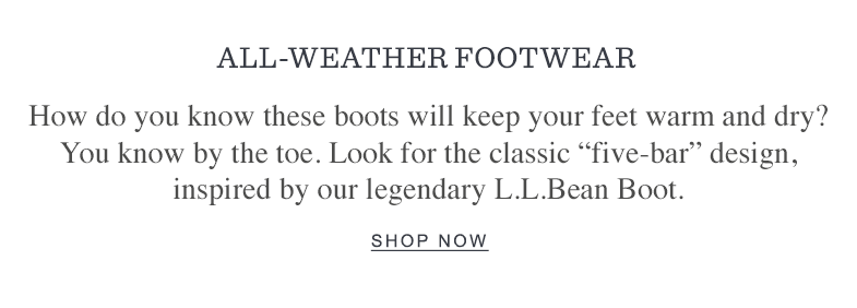 ALL-WEATHER FOOTWEAR.