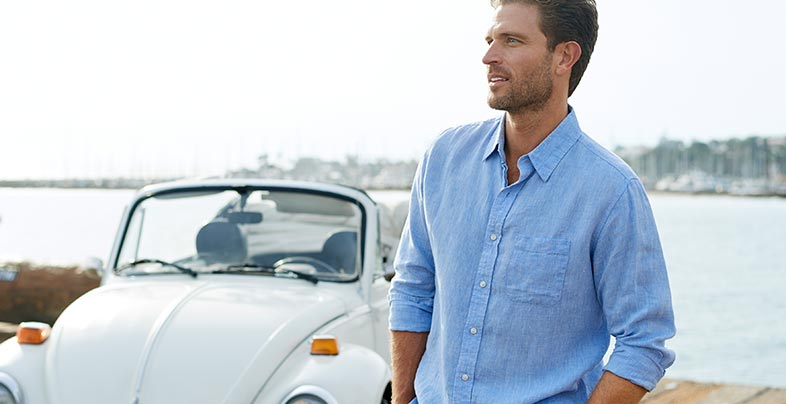 Man wearing a naturally cool linen shirt.