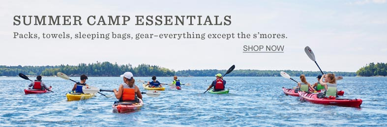 SUMMER CAMP ESSENTIALS Packs, towels, sleeping bags, gear – everything except the s'mores.