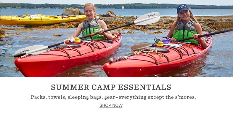 SUMMER CAMP ESSENTIALS. Packs, towels, sleeping bags, gear – everything except the s'mores.