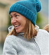 Woman in a knit cap.