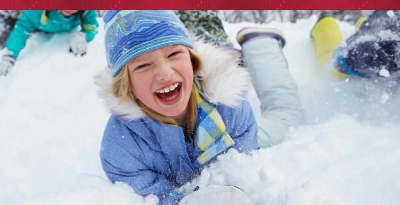 Kids in Fleece-Lined Down Jackets having fun in snow