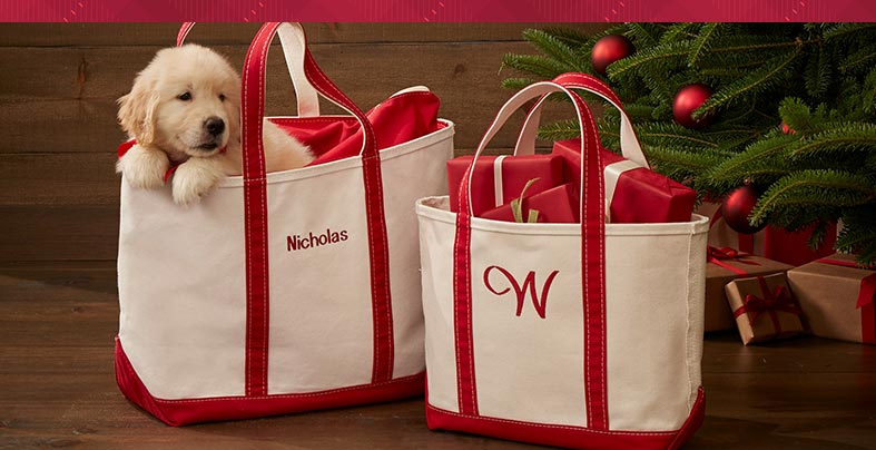 Puppy in two Boat and Totes with gifts under a tree