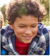Boy in an L.L.Bean hoodie.