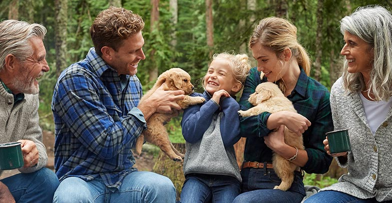 Family around a campfire playing with puppies.