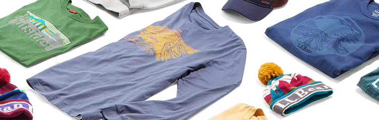 A variety of apparel and accessories bearing the L.L.Bean logo.