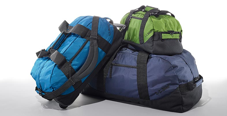 different sizes and colors of Adventure Duffles