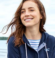Woman in an L.L.Bean hoodie.
