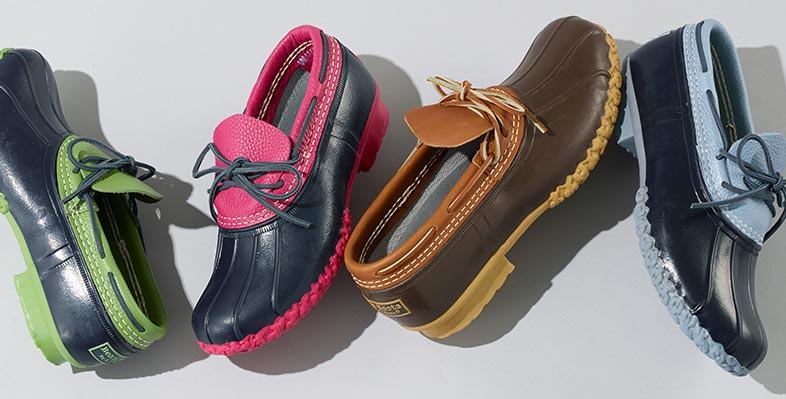 Four colorful L.L.Bean Mocs.