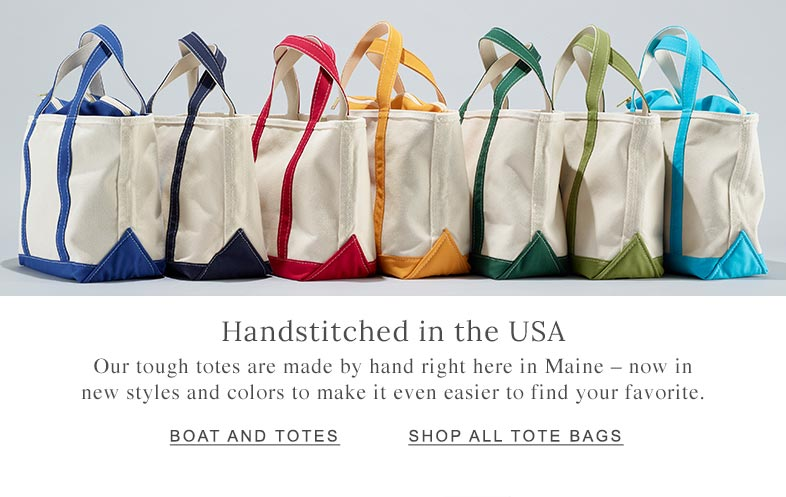 Handstitched in the USA. Our tough totes are made by hand right here in Maine — now with new styles and colors.