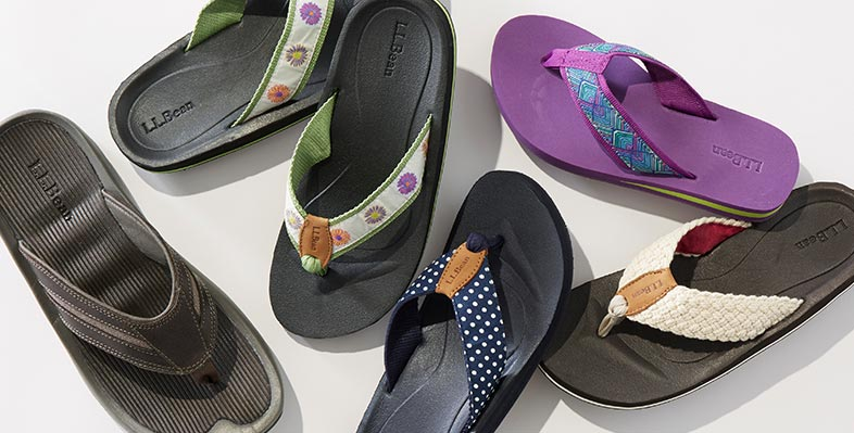 A group of colorful Maine Isle Flip Flops.