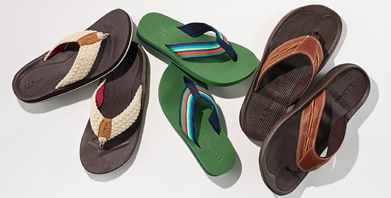 An assortment of L.L.Bean flip flops.