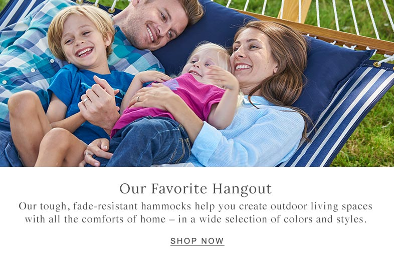 Family relaxing on a hammock together