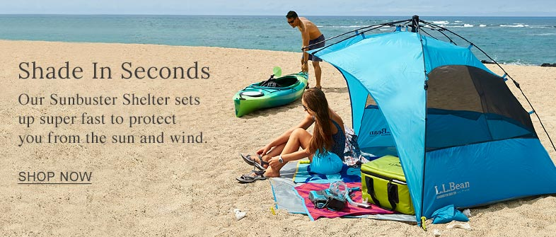 Shade in Seconds. Our Sunbuster Shelter sets up super fast to protect you from the sun and wind.