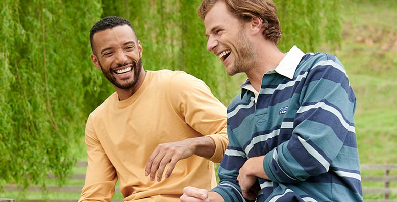 men laughing in L.L.Bean Rugby Shirts