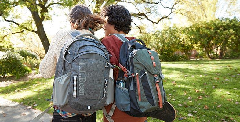 Teens walking with L.L.Bean backpacks.