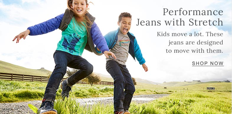 Performance Jeans with Stretch Kids move a lot. These jeans are designed to move with them.