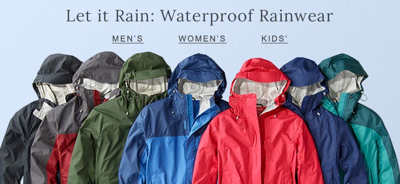 Let it Rain: Waterproof Rainwear.