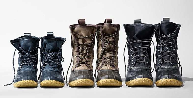A selection of L.L.Bean small batch Bean Boots.
