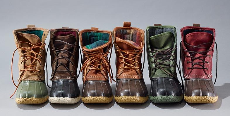 An assortment of L.L.Bean boots.