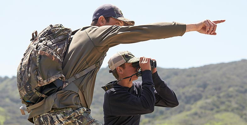 Father and son enjoying a day of hunting.