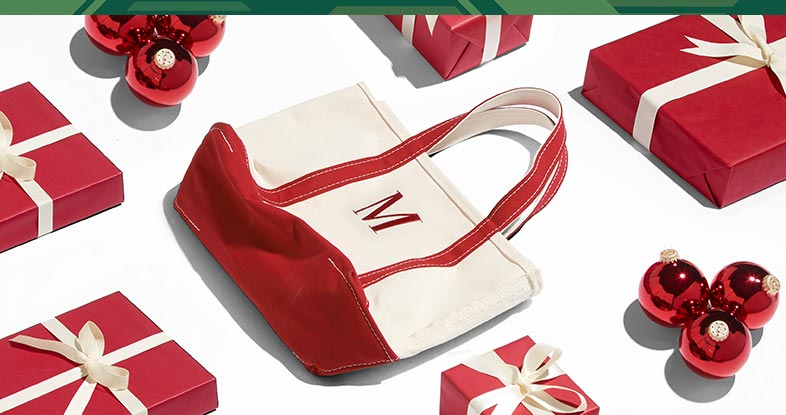 A red monogrammed L.L.Bean tote for the holidays.