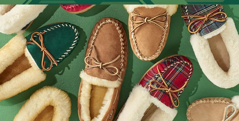 An assortment of L.L.Bean slippers.