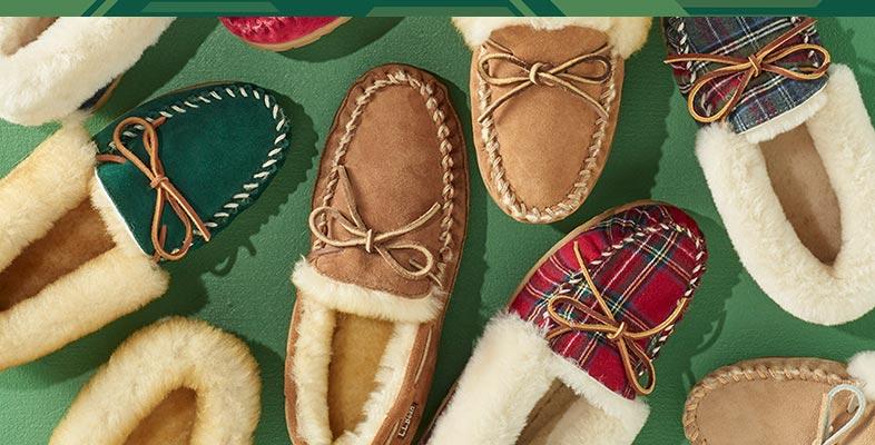 An assortment of L.L.Bean slippers.