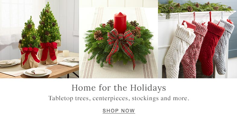 Home for the Holidays Tabletop trees, centerpieces, stockings and more.